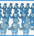 group of robots and personal computer vector image vector image