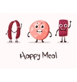Happy cartoon meat character with hands vector image vector image