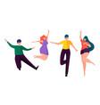 happy people dancing faceless cartoon characters vector image