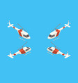 helicopter four views isometric vector image vector image