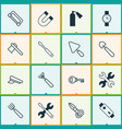 instrument icons set collection of garden fork vector image vector image