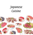 japanese cuisine poster with asian dishes vector image vector image