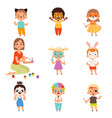 kids face painting animator drawing and playing vector image vector image
