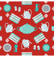 Kitchen Dishes and Cutlery Seamless Pattern vector image