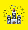 magical stone castle line icon vector image vector image