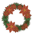 opaque color crown with poinsettia christmas vector image vector image