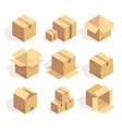Open and closed delivery cardboard icons set vector image