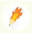 Pencil and flame isolated object vector image