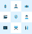 ramadan icons colored set with koran dua vector image vector image