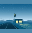 road diner at night scene vector image vector image