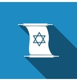 Star of David on scroll icon with long shadow vector image vector image