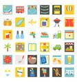summer vacation flat icon set vector image vector image