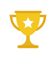 Trophy cup flat icon simple winner symbol gold