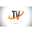 tv t v letter logo with fire flames design and vector image vector image