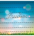 word freedom written a barbed wire vector image