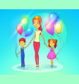 mother or woman with daughter and son vector image