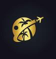 travel tropic holiday gold logo vector image
