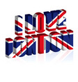 3d uk text or background united kingdom flag vector image
