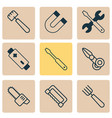 apparatus icons set with scissors saw magnet and vector image vector image