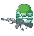 army macaron character cartoon style vector image vector image