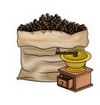 bag of coffee beans and griding with crank colored vector image