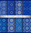 blue arabesque patterns vector image vector image