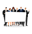 business people holding blank banner vector image vector image
