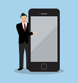 Businessman pointing to the screen of a smartphone vector image