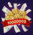 casino winner background coins and dollars vector image vector image