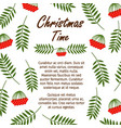 christmas time banner template with red berries vector image vector image