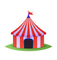 circus top tent for carnival with red stripes vector image