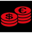 Coins dollar euro icon vector image