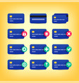 colored credit card icons vector image vector image