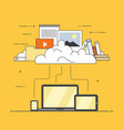 computer device data cloud storage flat design vector image