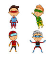 cute four kids wearing superhero costumes vector image vector image