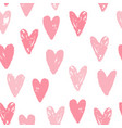 cute pink hearts seamless pattern vector image