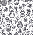 Decorative Easter doodle eggs seamless pattern vector image