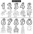 educational numbers set with christmas characters vector image vector image
