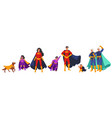 family superheroes cartoon character set flat vector image