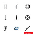 flat icon parts set of metal car segment vector image vector image