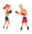 flat muscular althlete boxer woman man vector image