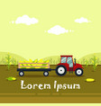 flat red tractor with a cart corn the vector image vector image