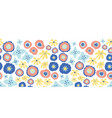 floral seamless repeat border blue flowers vector image vector image