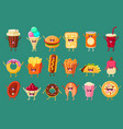 funny fast food comic characters sett ice cream vector image vector image