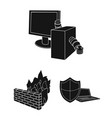 hacker and hacking black icons in set collection vector image vector image