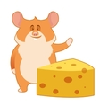 Hamster and a Piece of Cheese vector image vector image