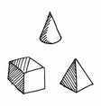 hand drawn geometric solids vector image