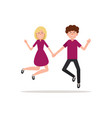 happy couple young people jumping on a white vector image