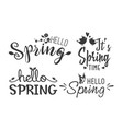 hello spring hand drawn design lettering logo vector image