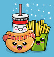 hot dog and french fries with soda kawaii vector image